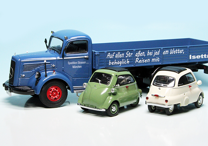 1:43 Schuco Mercedes L6600 Isetta delivery blue with 2 BMW Isetta