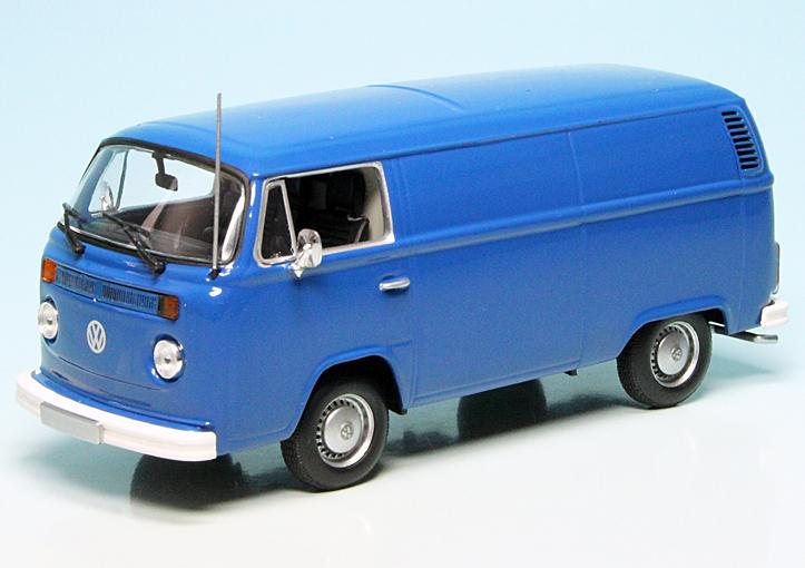 VW T2 b Bus Kastenwagen 1972 blau Modellauto 1:43 Maxichamps